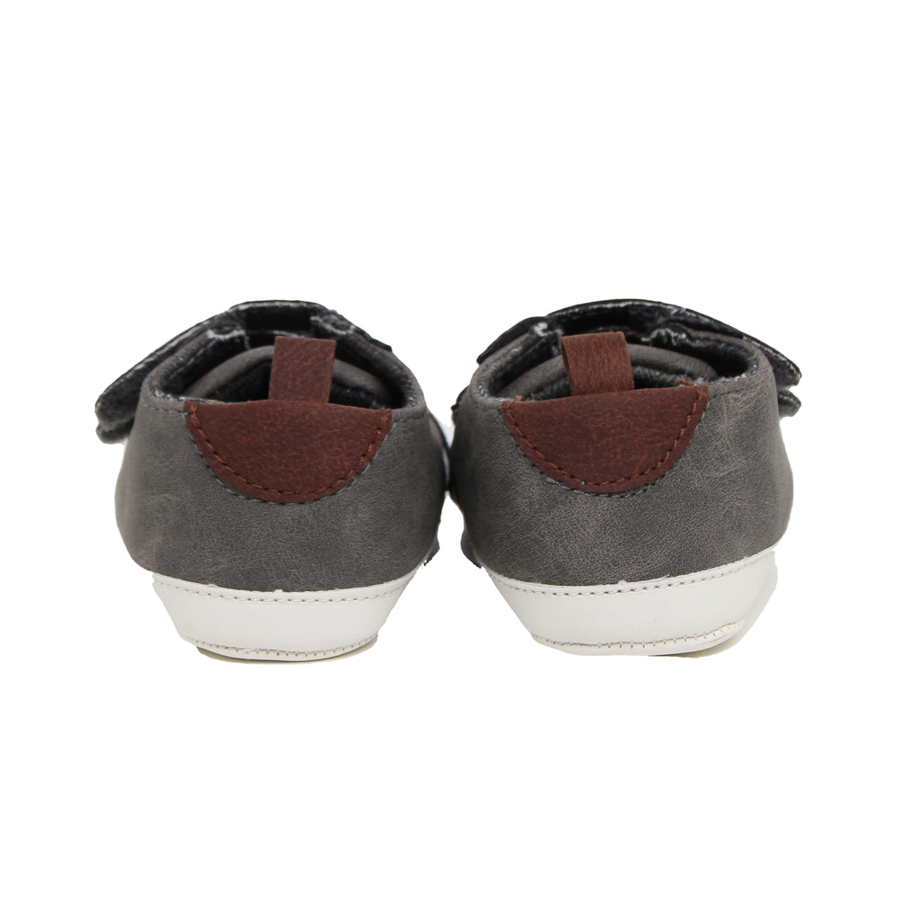 Goldbug Baby Boys Soft Sole Velcro Faux Leather Sneakers Shoes with Earth Tone Faux Leather and Soft Sole Mock Sneaker