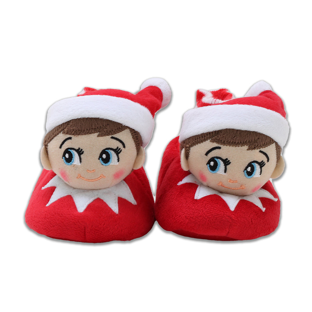 Elf On The Shelf Little Kid Boys Girls 3D Holiday Sock Top Slipper Stuffed With Pom Pom Stocking Cap Non Slip Grips On Sole
