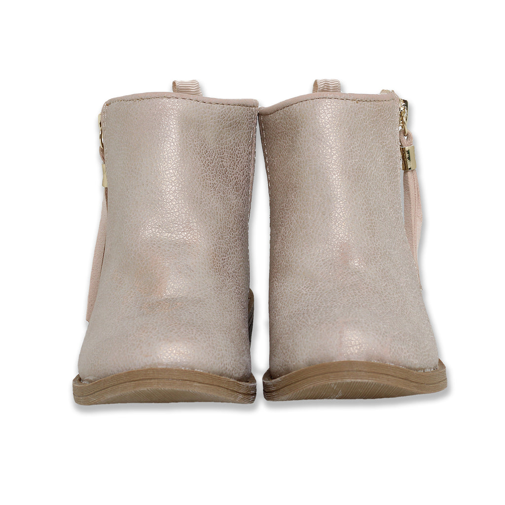Baby Deer Toddler Little Girls Metallic Gold Shimmer Ankle Dress Boot in Beige Faux Leather with Side Zipper With Tassel
