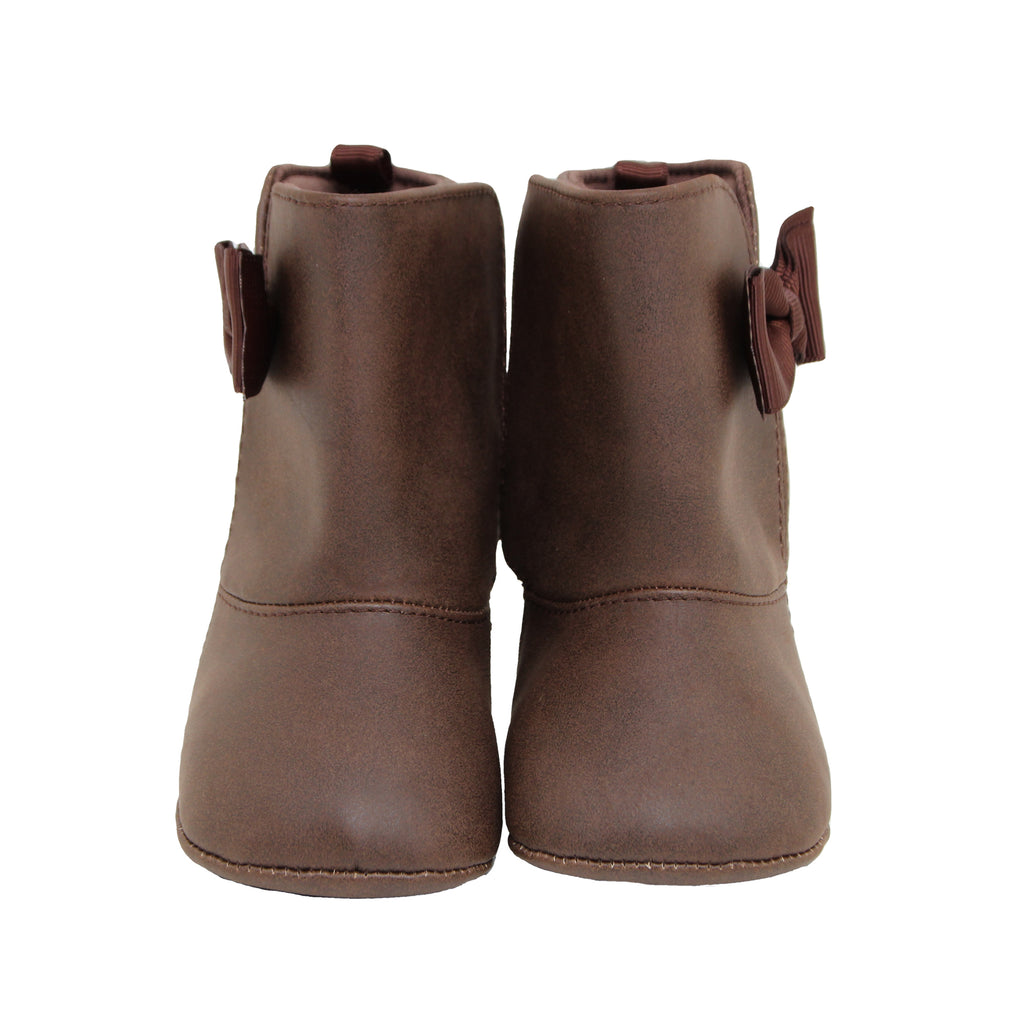 Baby Deer Baby Girls Soft Sole Mid-Calf Boot With Bow with Velcro Flap Closure for Easy On and Off and Fashionable Bow Design