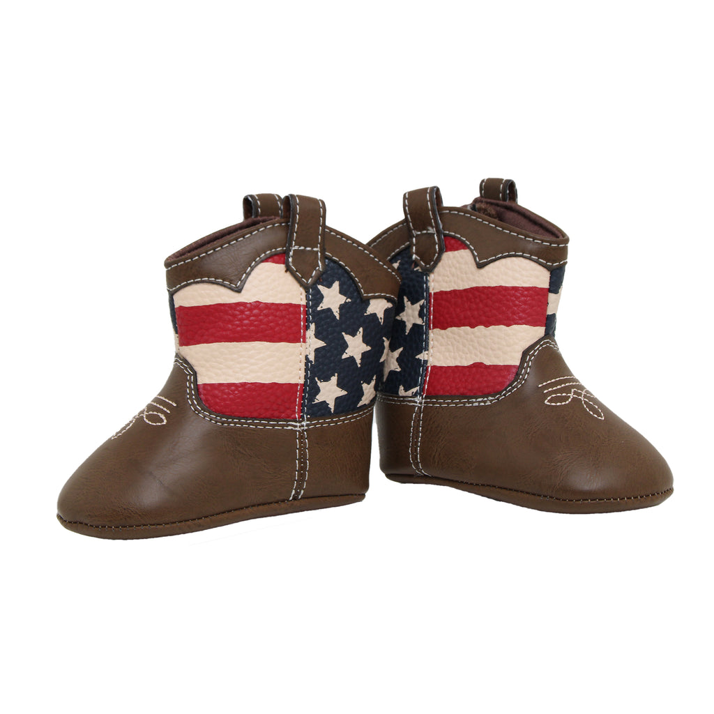 Goldbug Baby Girls Soft Sole Faux Leather American Flag Cowboy Boots with USA Flag Cutout and Embroidered Western Cowboy Boot Design and Velcro Flap