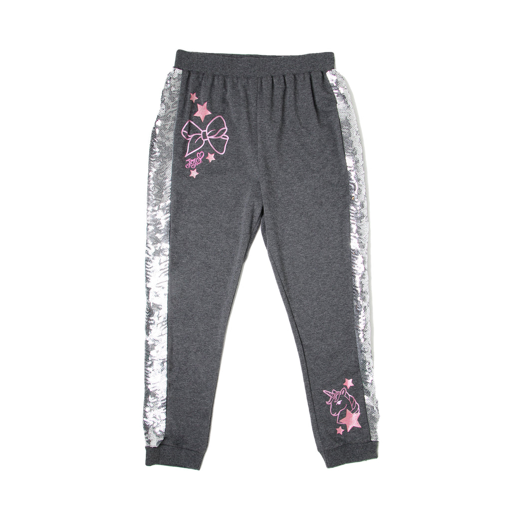 Big girls charcoal grey Jojo Siwa jogger sweatpant bottoms with silver sequin on side of leg with pink bow print design