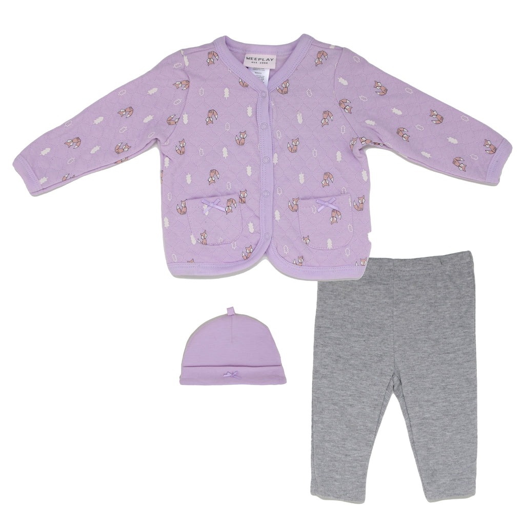 Baby girls 3 piece set with quilted purple snap button longsleeve sweater matching jogger sweatpants and beanie hat cap