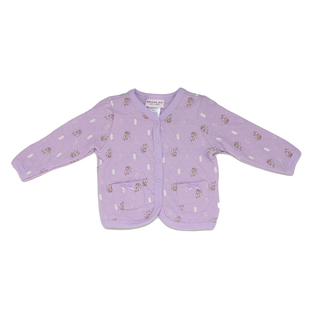 Baby girls purple long sleeve quilted allover animal print sweater with full front snap buttons and pockets with ribbons
