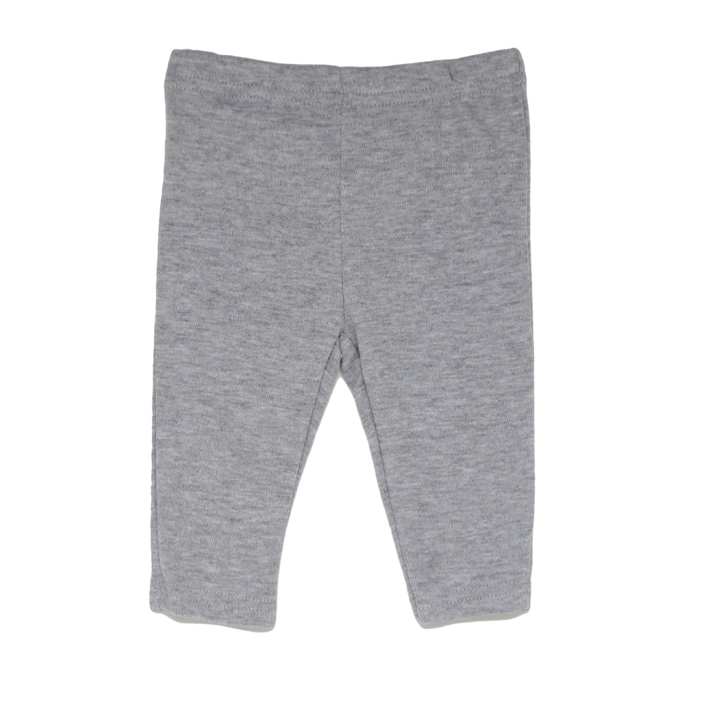 Baby girls light heather grey sweat pants with cinch bottom cuff joggers part of a three piece set
