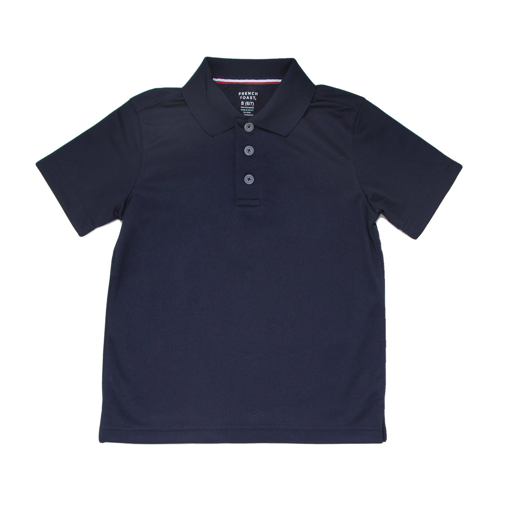 Little boys French Toast dark navy blue short sleeve collared polo tee shirt back to school uniform fashion shirt