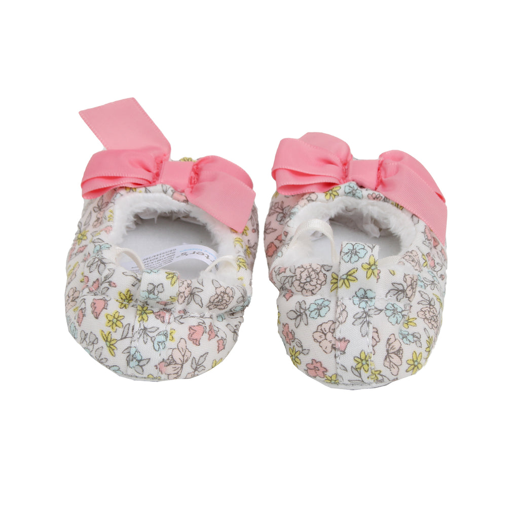 Carters Baby Girls Slip On Ballet Slipper With Bow for babies 0 to 3 Months old they Feature Soft Non Slip Grip Soles and Pull Tab For Easy On Off