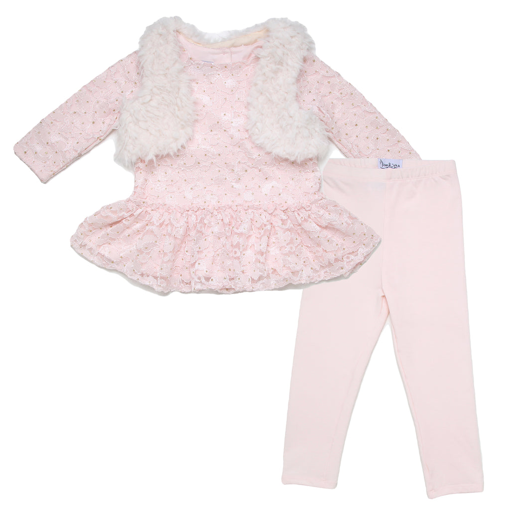 Little girls Pippa and Julie 3 piece set with longsleeve pink tee shirt matching pink legging pant and faux fur white vest