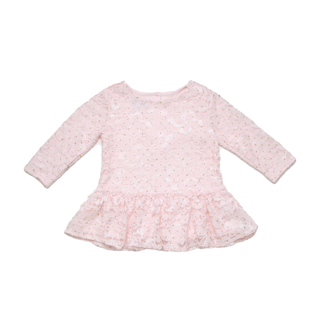 Little girls Pippa and Julie light rose pink long sleeve crew neck tee shirt with lace and bead detailing