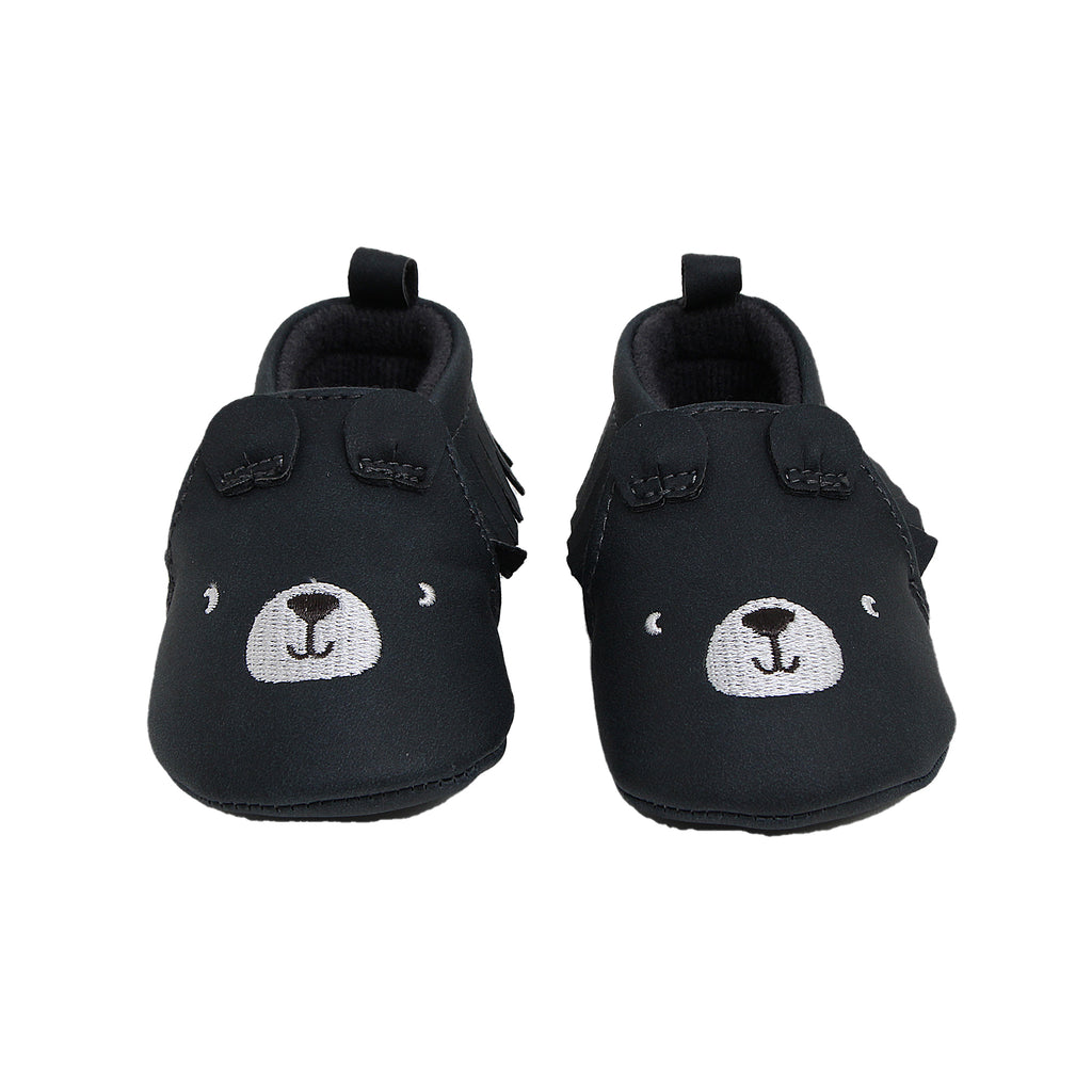 Carters Baby Girls Soft Sole Bear Moccasin Shoe for sizes zero to three Months made out of Soft Faux Leather Soles and Pull Tab For Easy On and Off