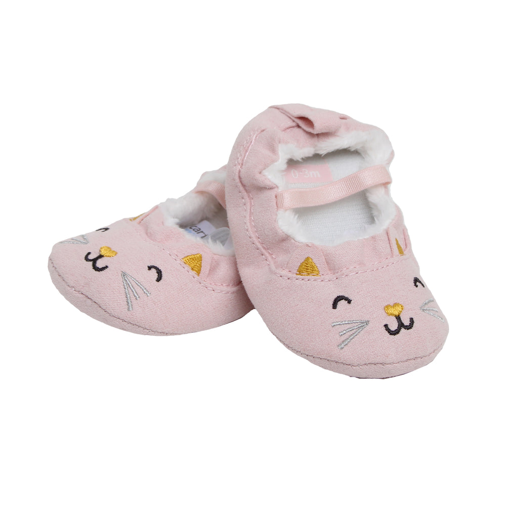 Carters Baby Girls Faux Suede Cat Ballet Slipper for babies zero to three Months old they Feature Soft Non Slip Grip Soles and cat embroidery design