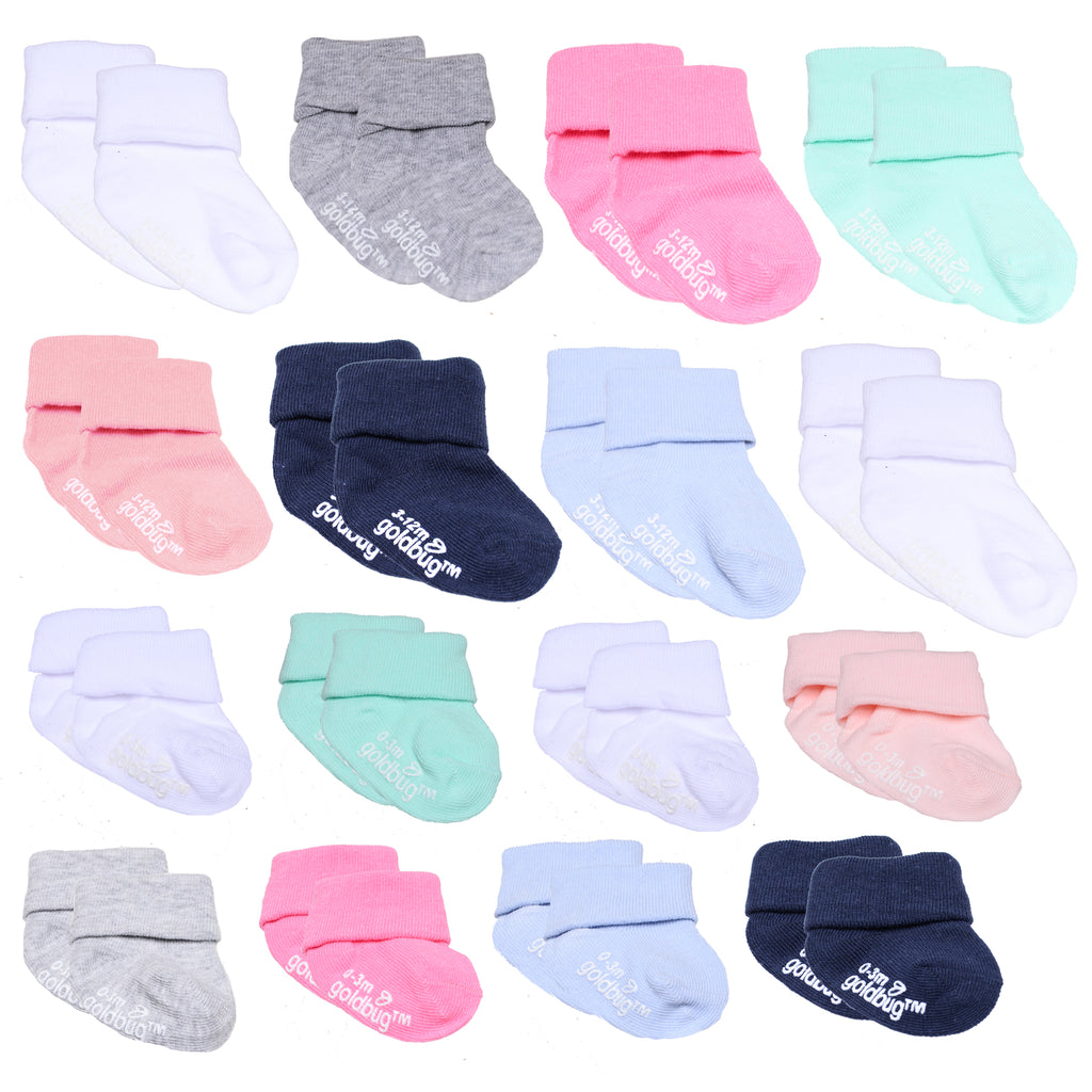 Baby and toddler girls 16 pack assorted gripper bottom ankle socks with different sizes to grow with baby in white and colors