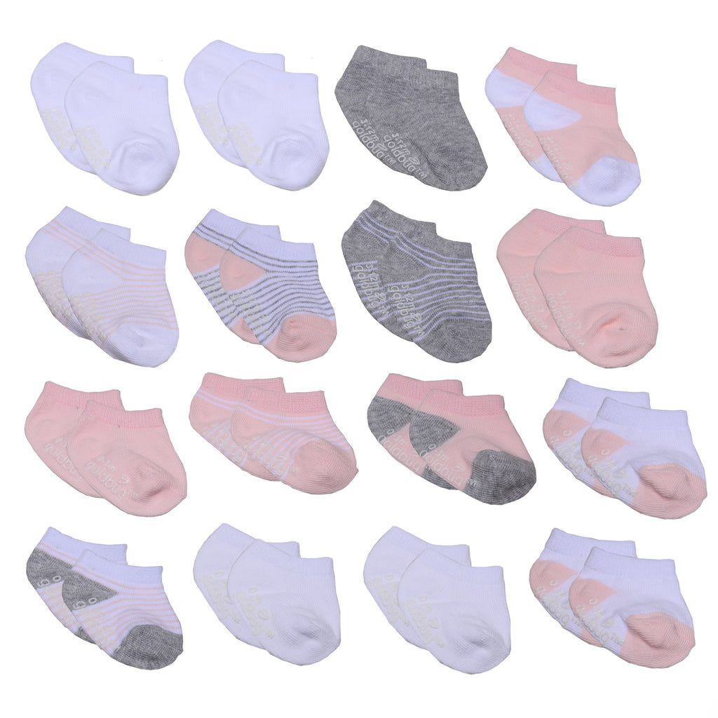 Baby and toddler girls 16 pack assorted gripper bottom ankle socks with different sizes to grow with baby in white pink grey