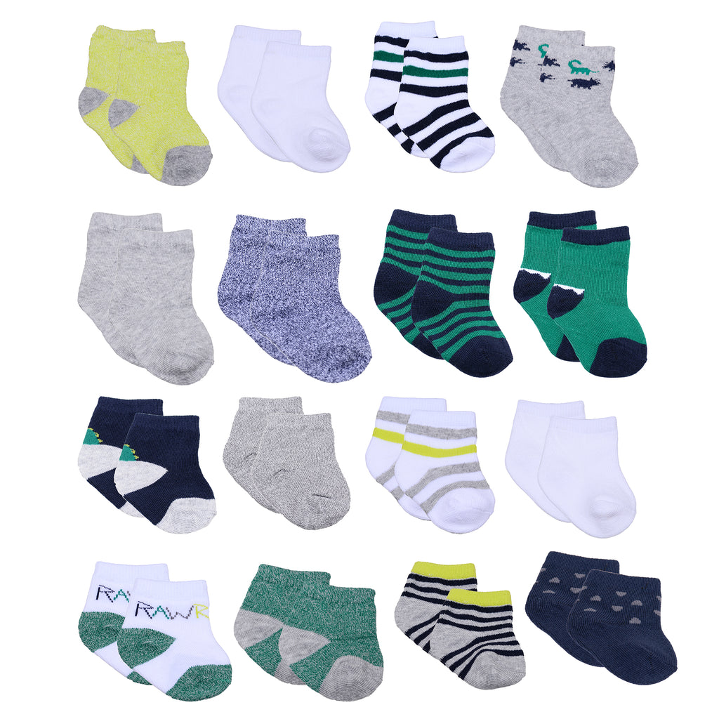 Baby and toddler boys 16 pack assorted gripper bottom ankle socks with different sizes to grow with baby in green dinosaur
