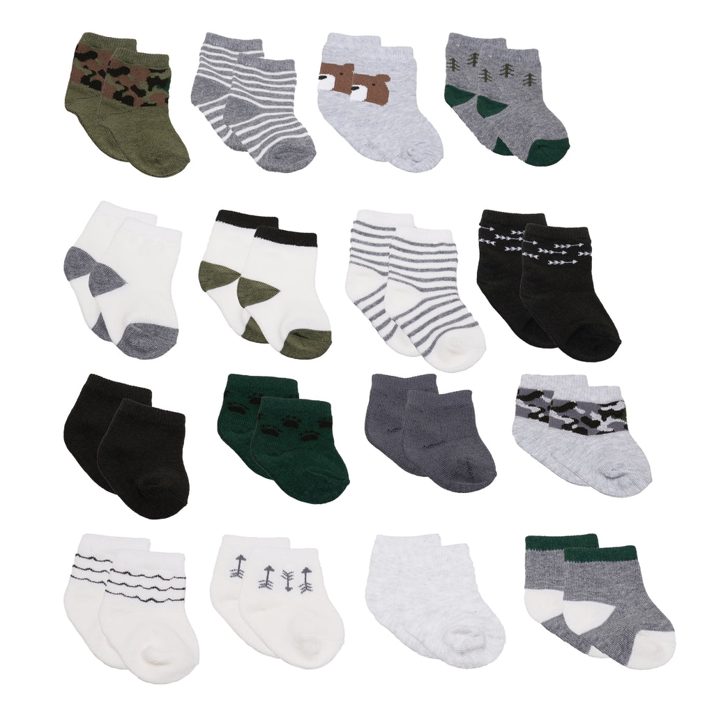 Baby and toddler boys 16 pack assorted gripper bottom ankle socks with different sizes to grow with baby in green grey camo