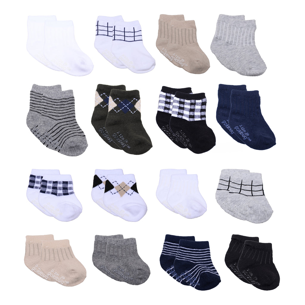 Baby and toddler boys 16 pack assorted gripper bottom ankle socks with different sizes to grow with baby in black white print