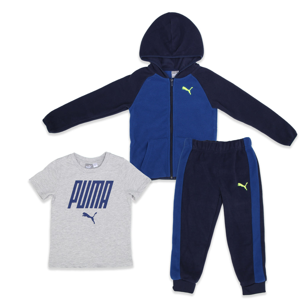 PUMA Little Boys 3 Piece Set Includes Fleece Zip Up Hoodie, Jogger Pants, And Shortsleeve Graphic Tee Shirt