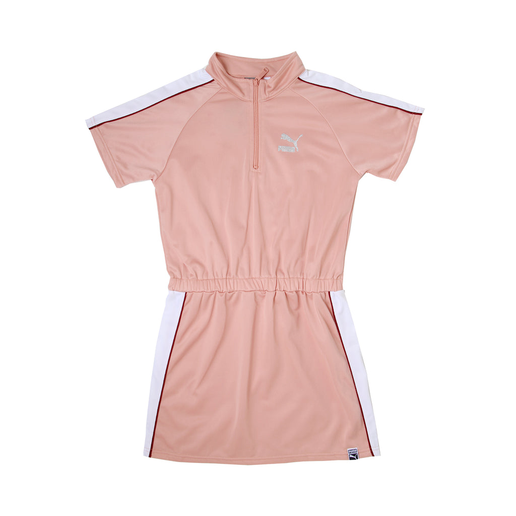 Big girls PUMA shortsleeve track style collar quarter zip light pink athletic tennis golf dress with elastic cinch waist