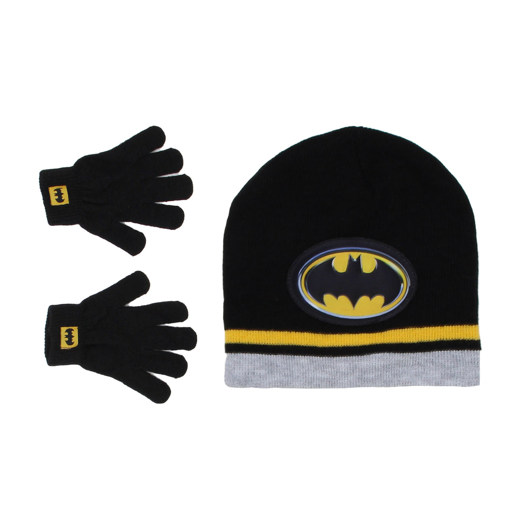 Little boys DC Comics Batman black beanie winter hat cap and glove set with 3D yellow Bat man superhero logo