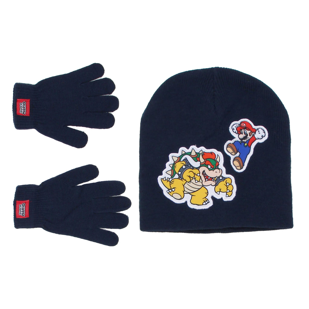 Little boys Nintendo Super Mario cold weather winter beanie hat cap with Bowser and glove set