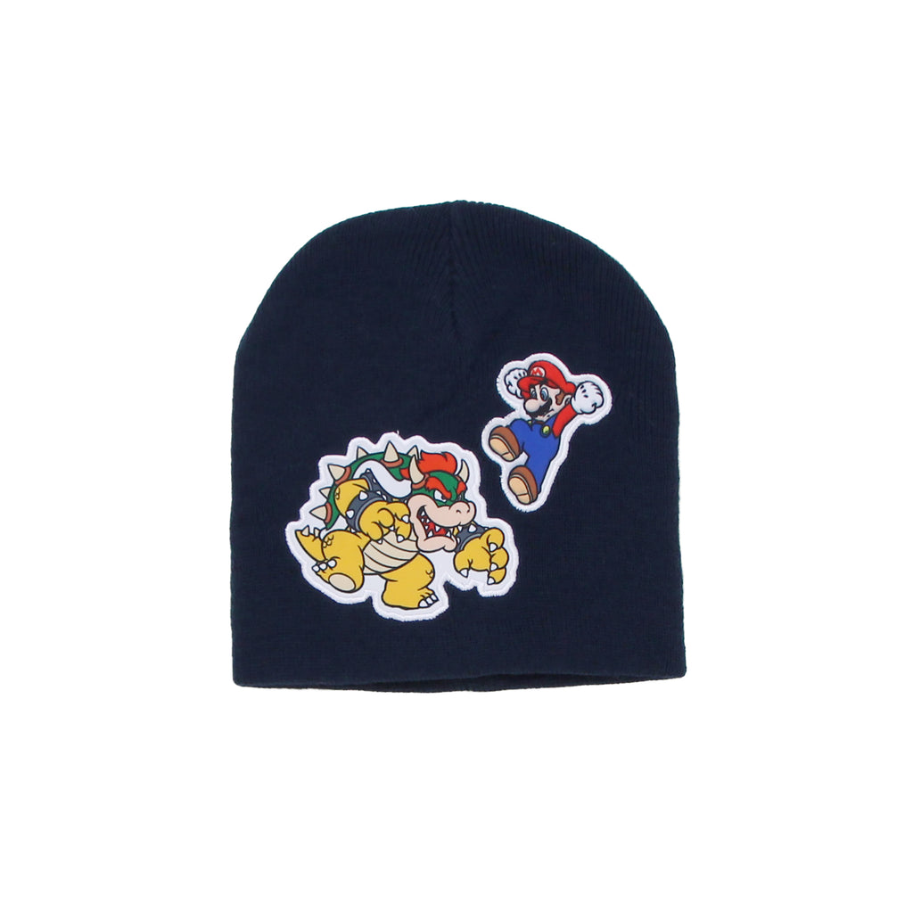 Little boys Nintendo Super Mario black cold weather winter beanie hat cap with Bowser patch design