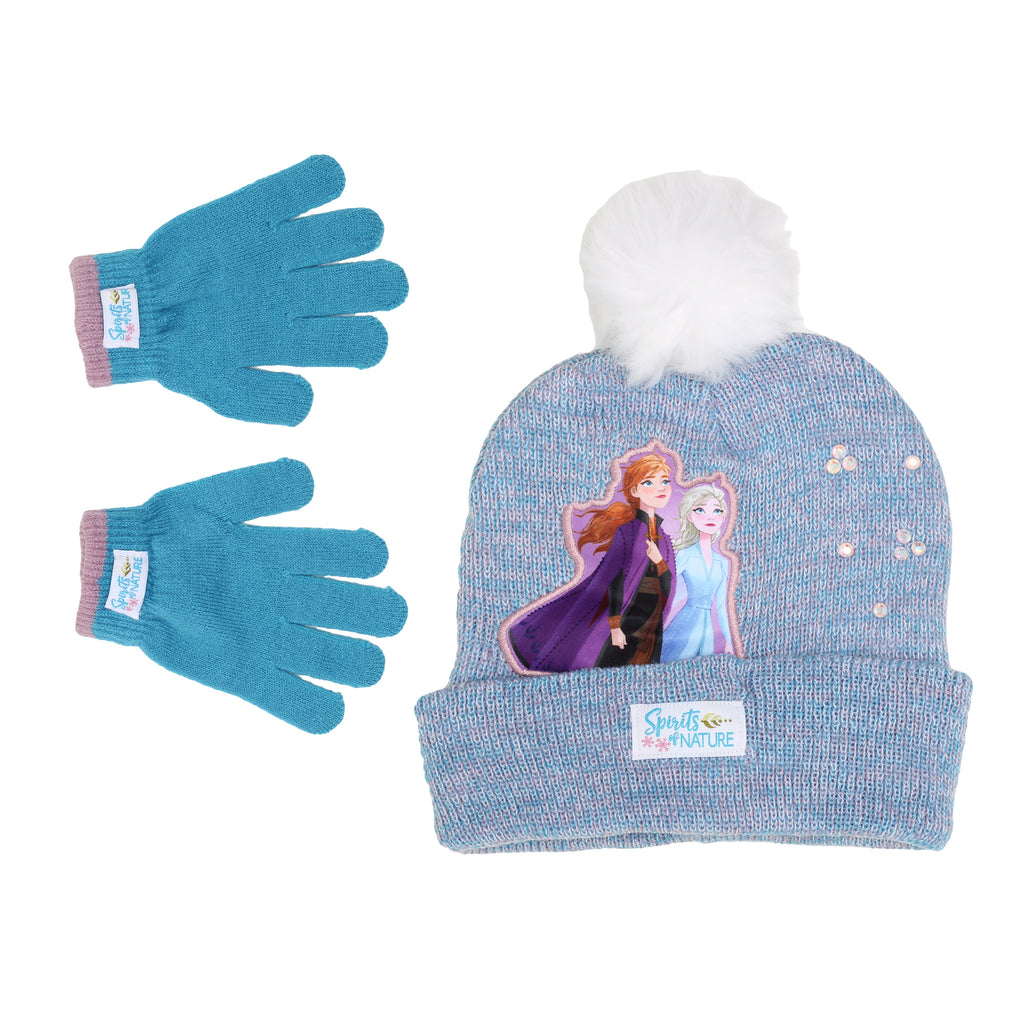Disney Frozen Anna And Elsa Characters Toddler Little Girl 2 Piece Set Includes Beanie Hat Cap And Glove Pair