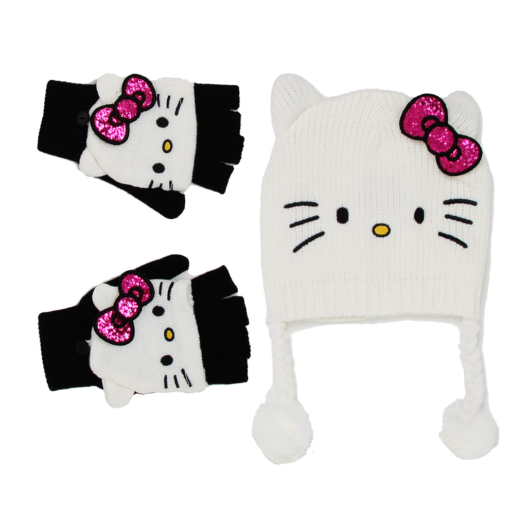 Hello Kitty Little Girls Winter Accessory Knit Hat Convertible Glove Set with Knit Winter Peruvian Hat And Convertible Gloves