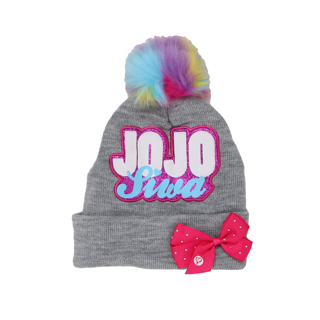 Jojo Siwa Little Girls 3D Bow Hat Features Plush Rainbow Pom Pom And 3D Bow Glitter Jojo Siwa Patch On Hat