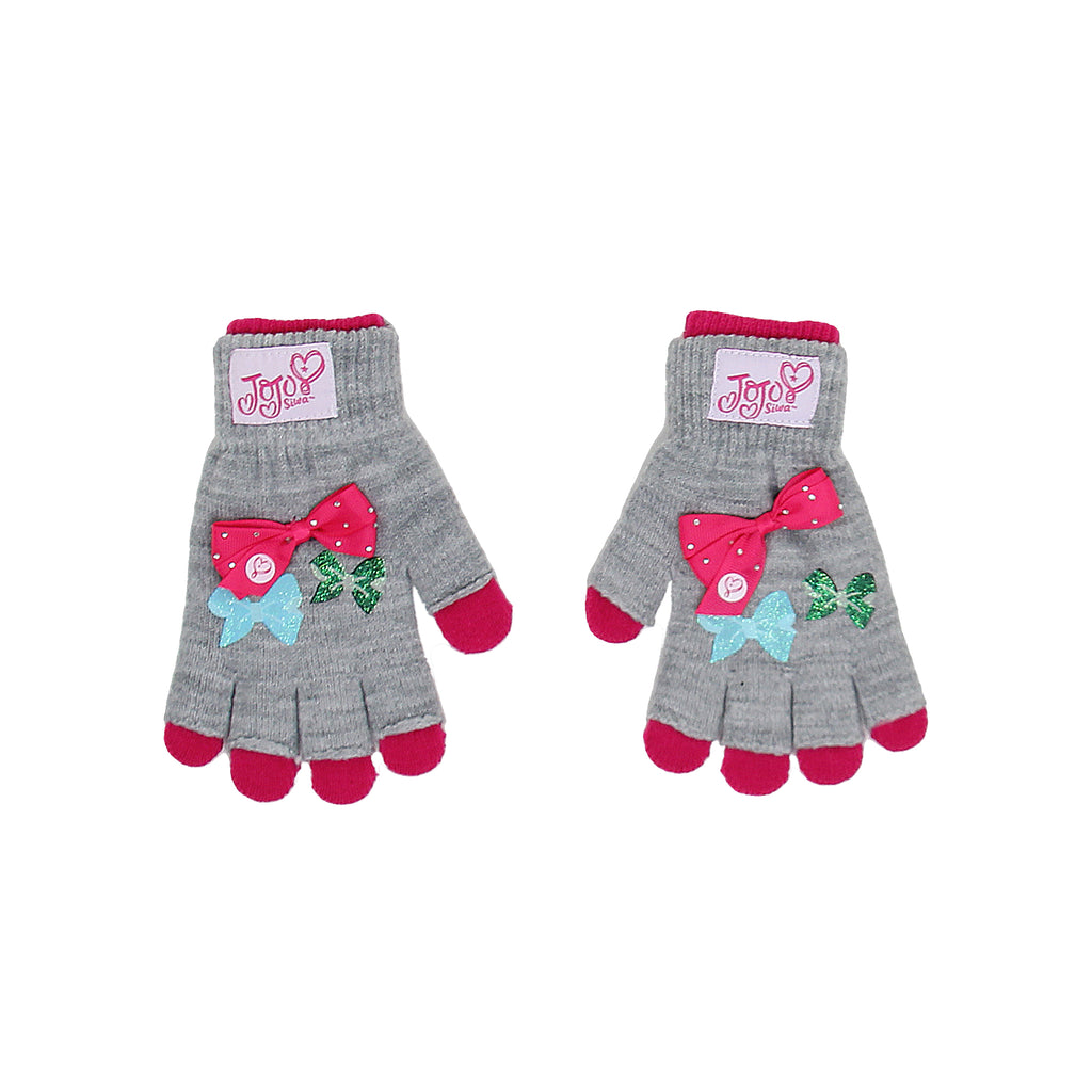 Jojo Siwa Little Girls 3D Bow gloves come with One Pair Fingerless And One Regular Pair also 3D Rhinestone Bow On Gloves