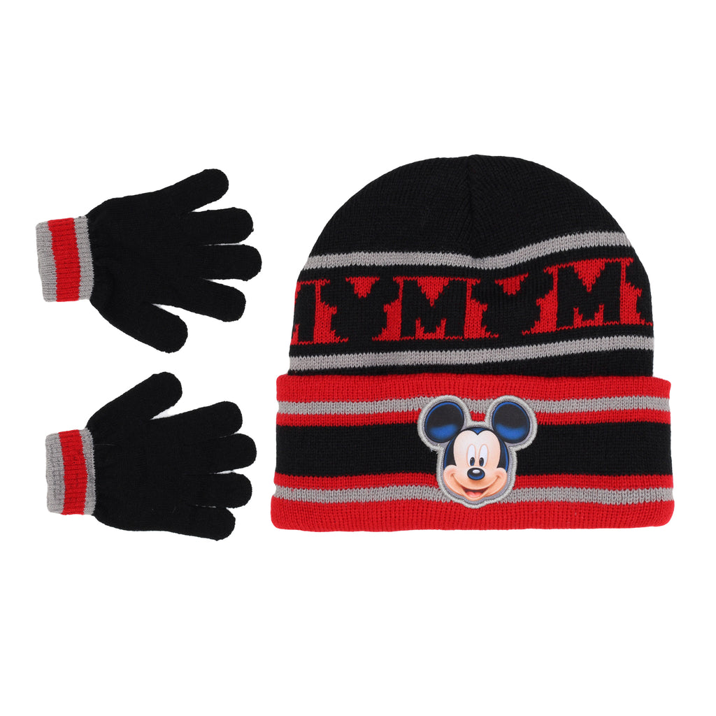 Disney Toddler Little Boy Mickey Mouse Winter 2 Piece Set Includes Beanie Hat Cap And Glove Pair