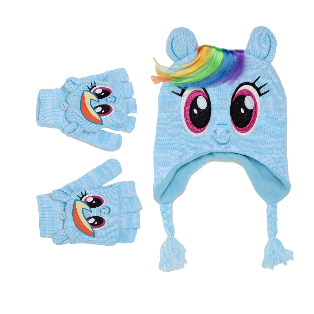 My Little Pony Little Girls Rainbow Dash Winter Hat Convertible Glove Set Includes Fully Lined Winter Hat And Convertible Gloves