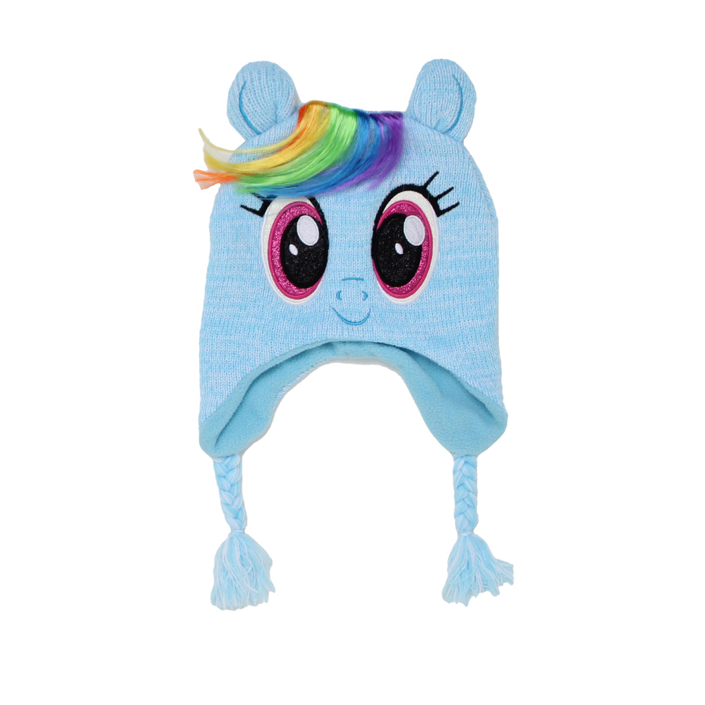 My Little Pony Little Girls Rainbow Dash Winter Hat Features Faux Hair 3D Ears And Braided Tassels Glitter Embroidered Baby blue pony Animal Face