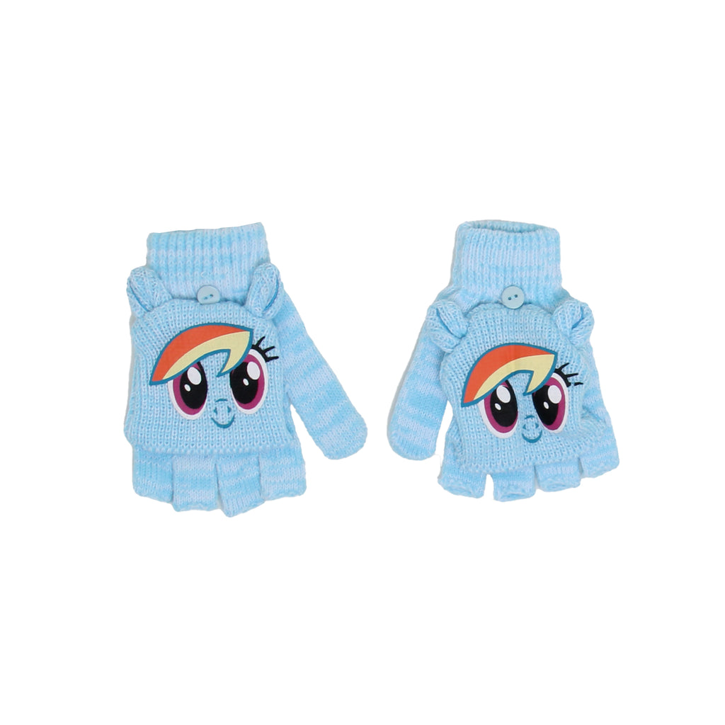 My Little Pony Little Girls Rainbow Dash Winter Glittens Are Fingerless Gloves With Convertible Mitten Flap Gloves that Feature Printed Design