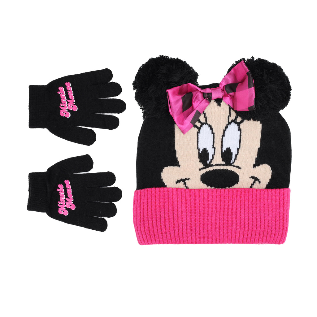 Disney Toddler Little Girl Minnie Mouse Winter 2 Piece Set Includes Beanie Hat Cap And Glove Pair