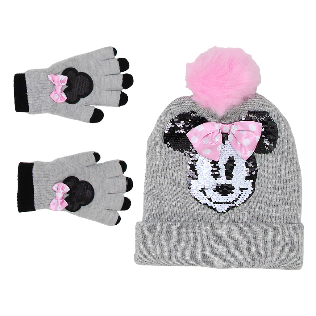 Disney Little Girls Minnie Mouse Flip Sequin Hat two Pack Glove Set that Includes Winter Beanie Hat And two Pairs Of Gloves
