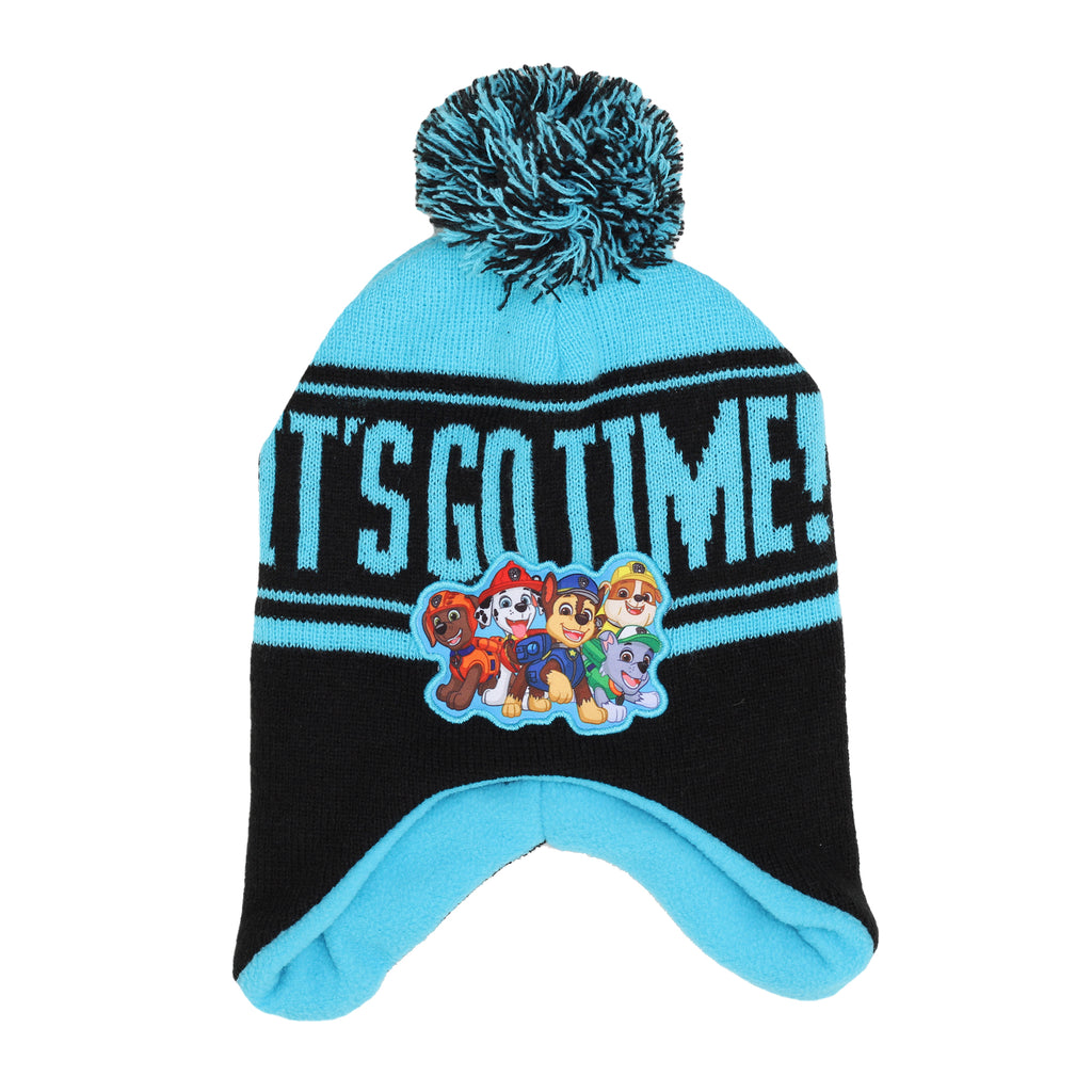 Nickelodeon Toddler Boy Paw Patrol Beanie has Ear Flaps PomPom Its Go Time Verbiage Patch Of Chase Rubble Zuma Marshall Rocky