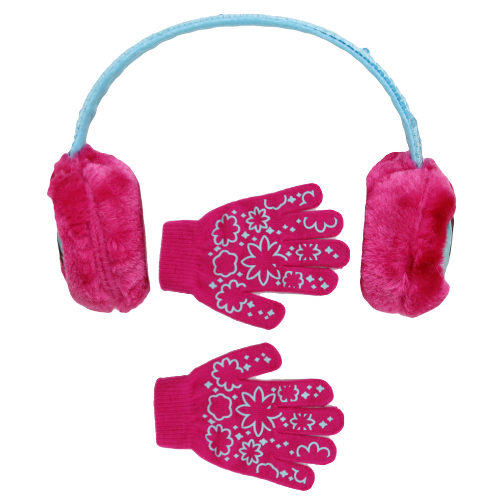 Nickelodeon Girls Dora The Explorer Earmuff Glove Winter Accessory Set Includes Plush Earmuffs And Gloves in colors pink and blue
