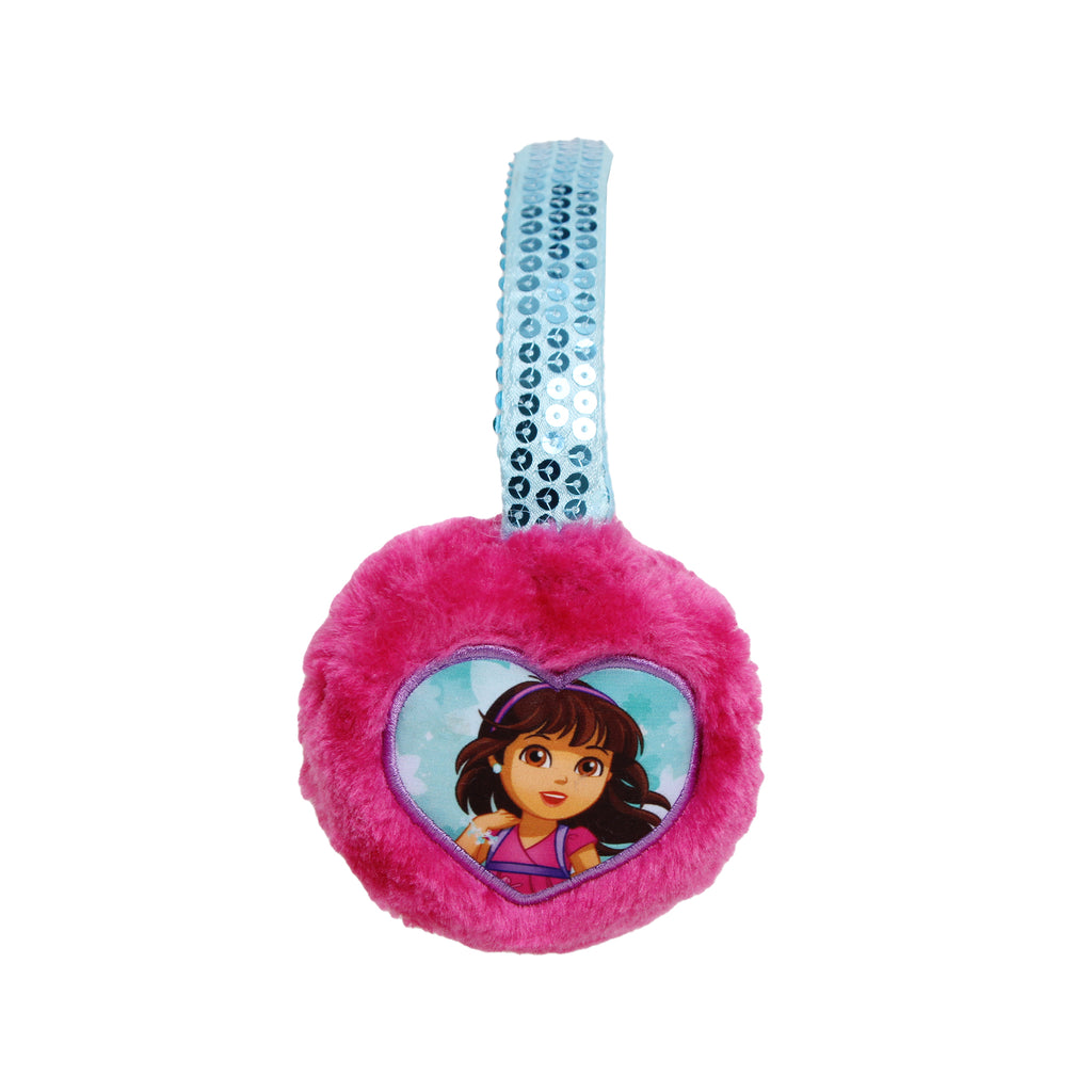 Nickelodeon Girls Dora The Explorer Ear Muffs Feature Patch Over Fuzzy Ear Pieces Sequin Headband Design With Felted Interio