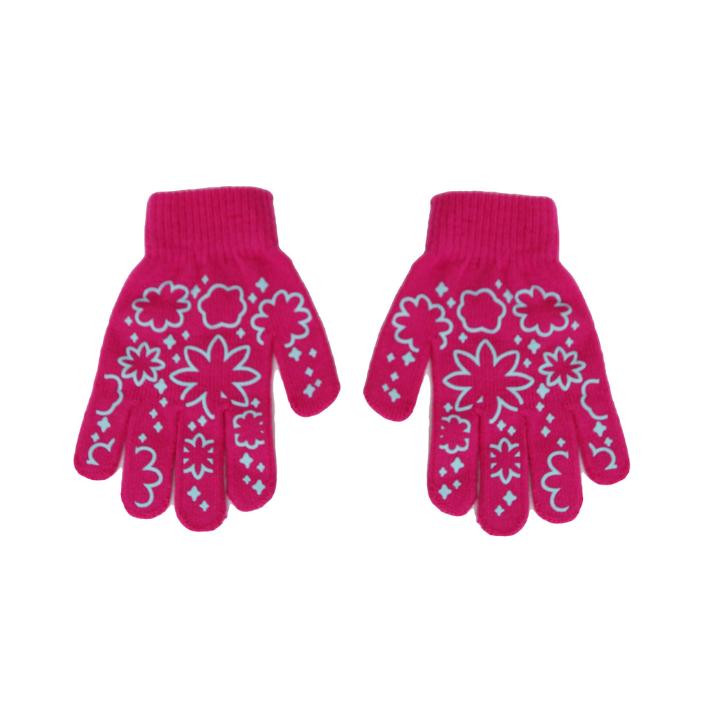 Nickelodeon Girls Dora The Explorer gloves have Grip On Matching colors with stars and flowers design