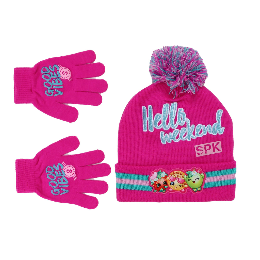 Little girls Shopkins pink hat and glove set with character pom pom cold weather winter cap and glove mittens with grip