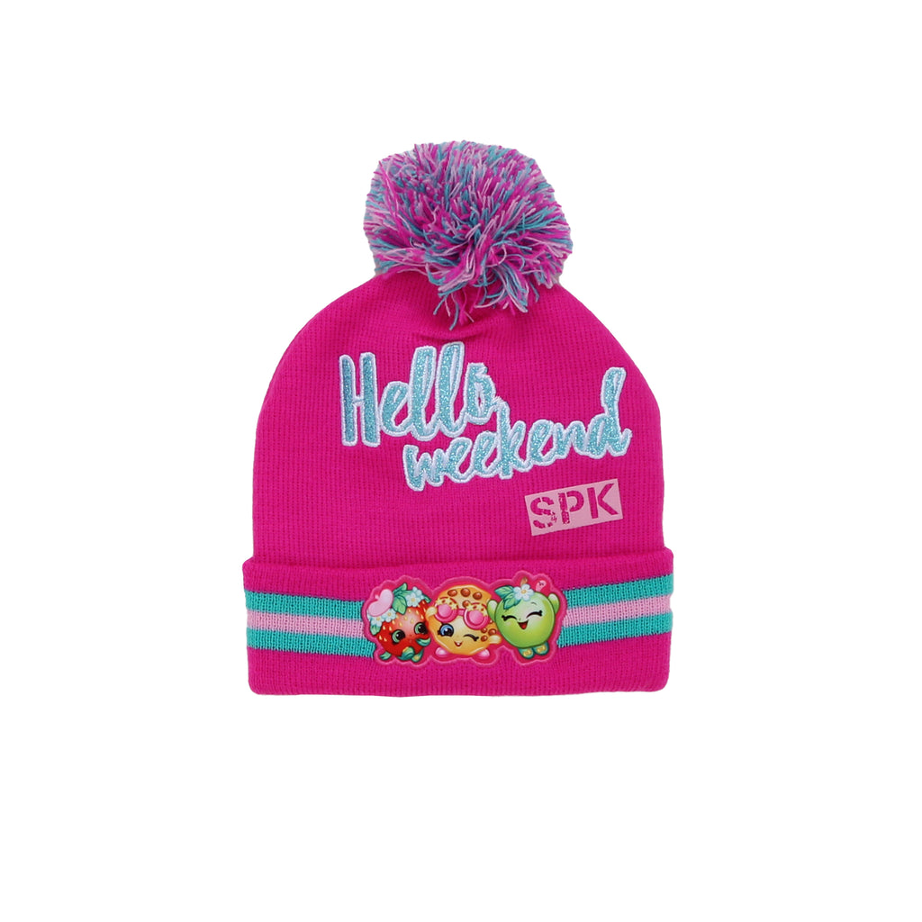 Little girls Shopkins pink hat with character pom pom cold weather winter cap with Hello Weekend verbiage