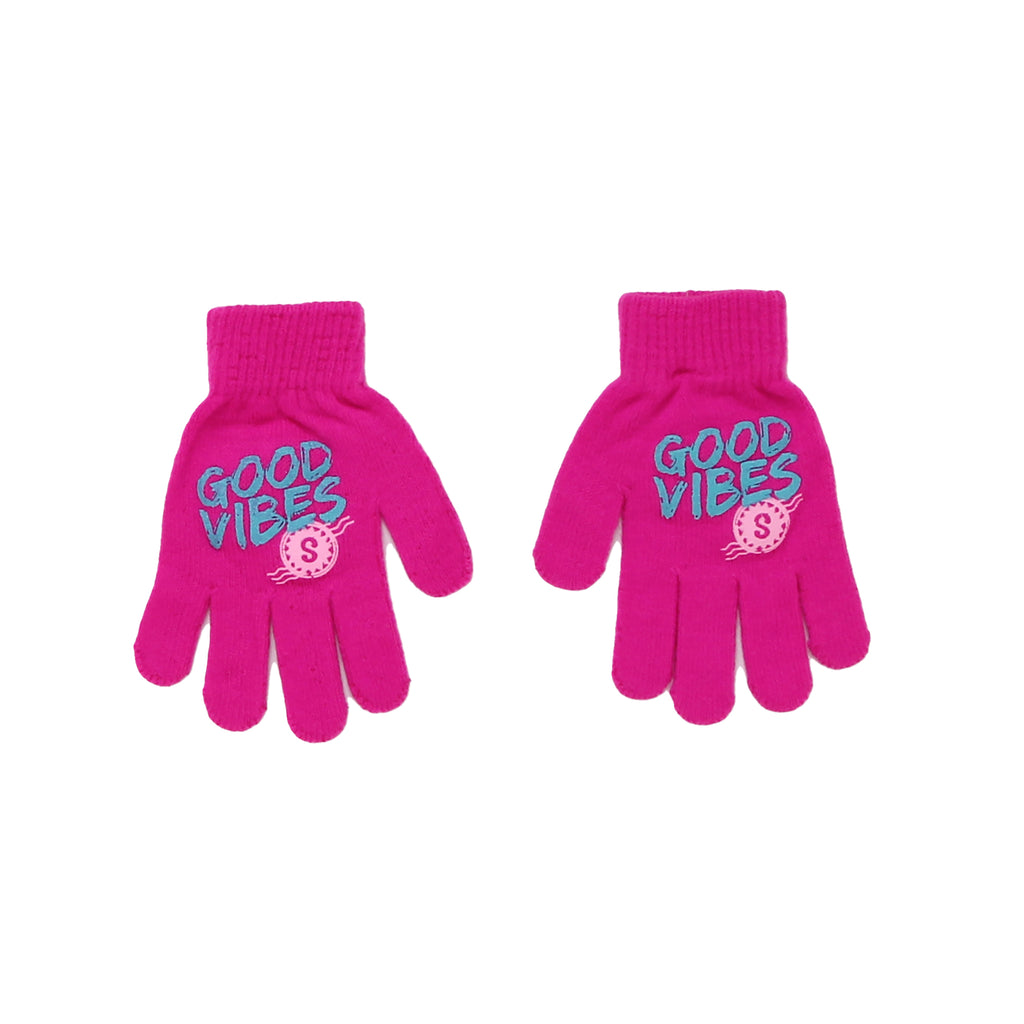 Little girls Shopkins pink gloves with blue grip with Good Vibes verbiage part of a set of two