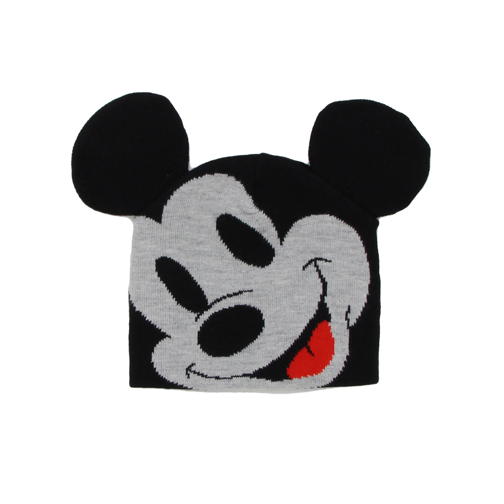 Disney Mickey Mouse knit Cold Weather Winter Beanie Hat Cap Accessory stretchy one size fits all with built in mouse ears
