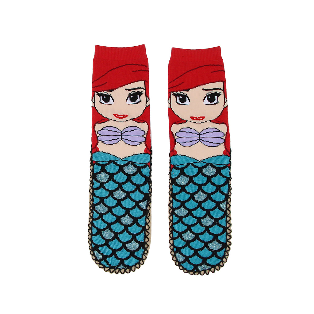 Disney Big Girls Ladies Ariel Little Mermaid Slipper Sock Bootie with Non-Slip Rubber Grips On Sole and Padded Sole and ariel mermaid character design