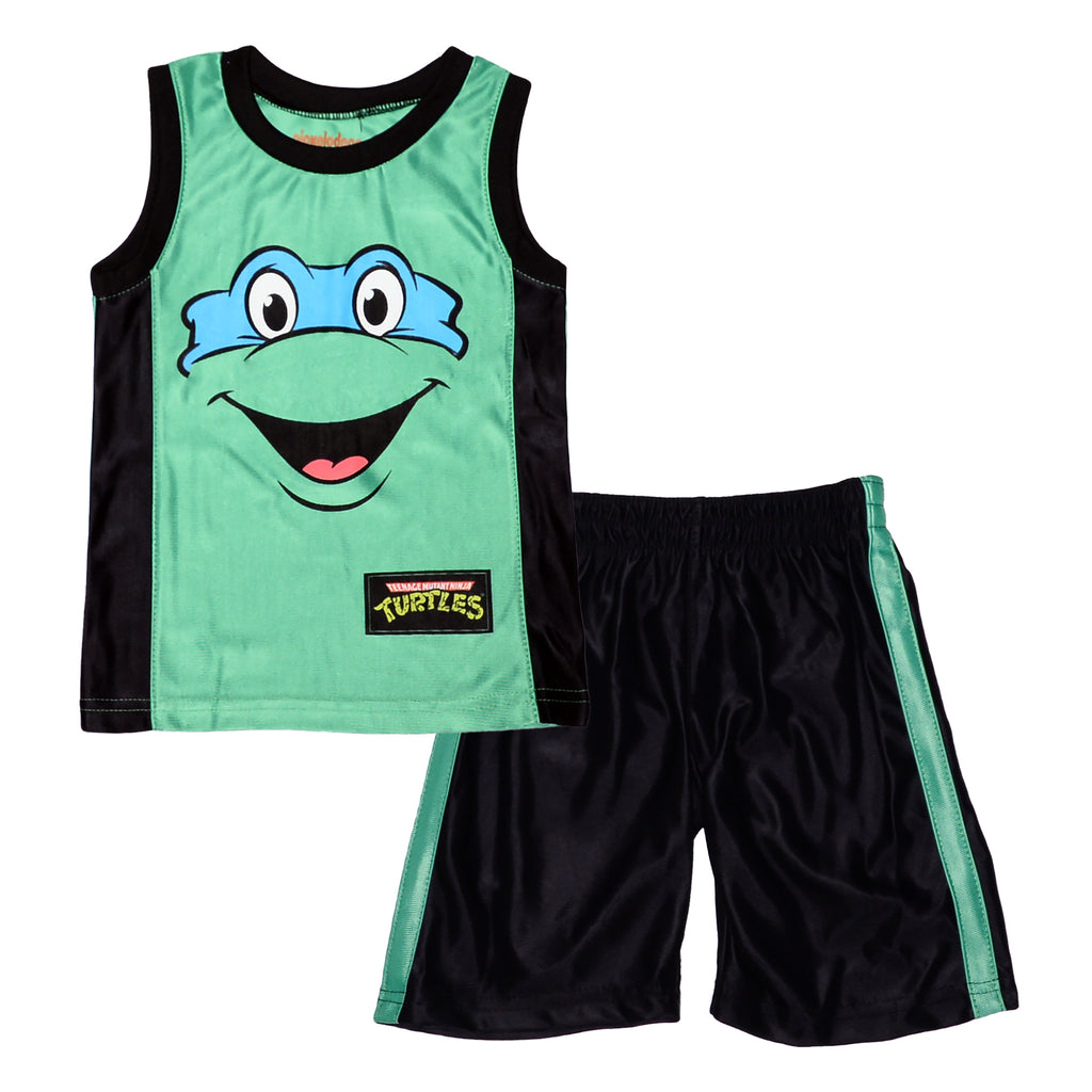 Teenage Mutant Ninja Turtles Toddler Boys Leonardo Tank Short Set two Piece Set Includes Sleeveless Graphic Tee Shirt And Athletic Basketball Shorts