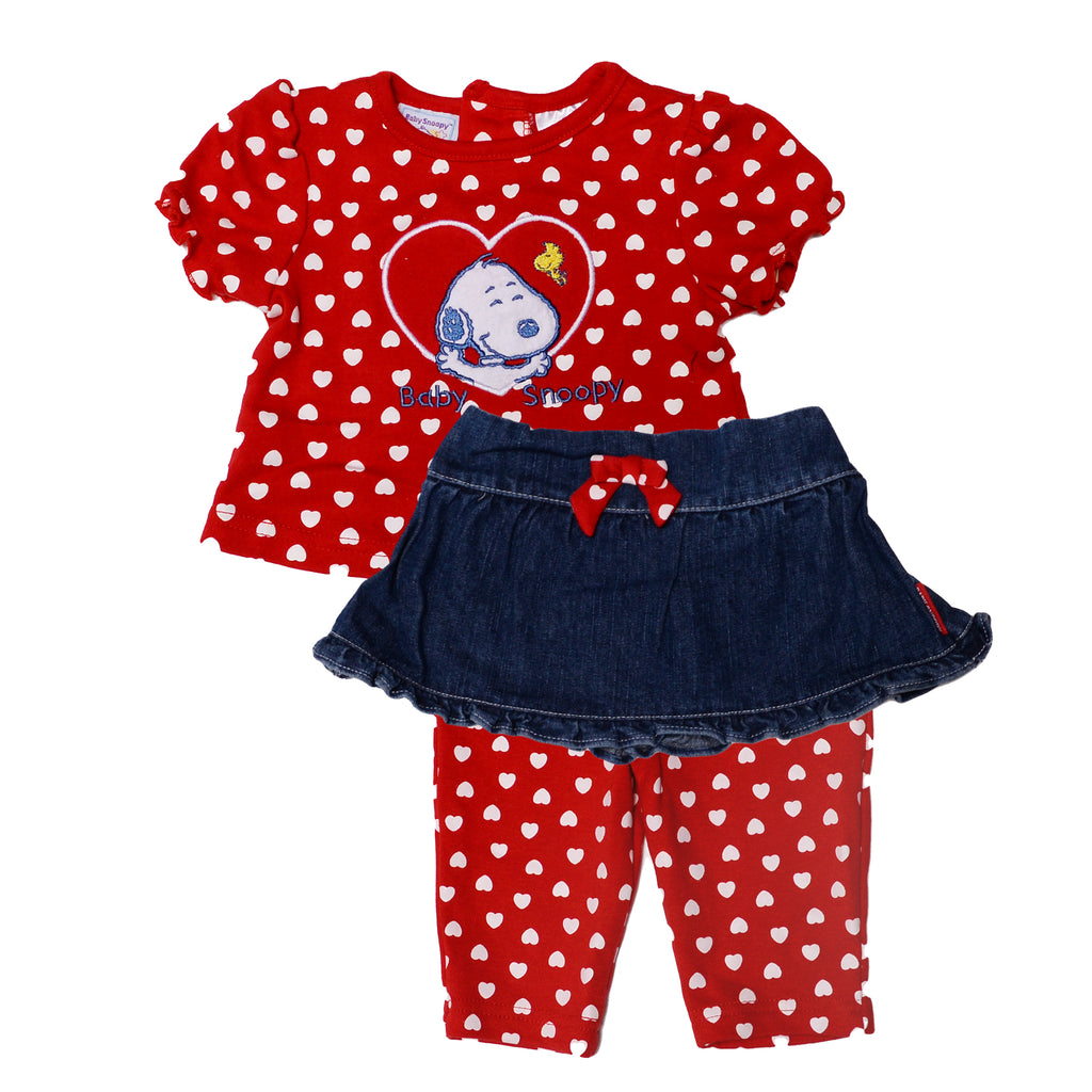 Baby Snoopy Baby Girl Peanuts 3 Piece Tee Denim Skirt Legging Set that Includes Short Sleeve Tee Shirt Matching Legging Pants And Denim Skirt