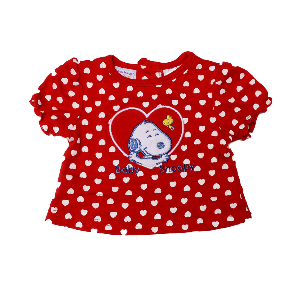 Baby Snoopy Baby Girl Peanuts Short Sleeve TShirt Features Ruffle Sleeves And Back Buttons Embroidered Felted Snoopy And Woodstock Patch On TShirt