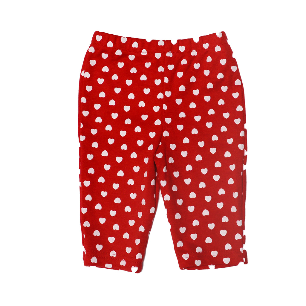 Baby Snoopy Baby Girl Peanuts Leggings Have Elastic Waistband and heart shaped pattern in red with white hearts