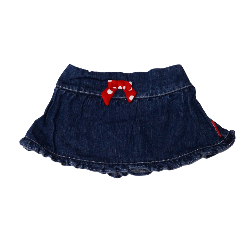 Baby Snoopy Baby Girl Peanuts dark Denim Skirt Features 3D Bow and Elastic Waistband