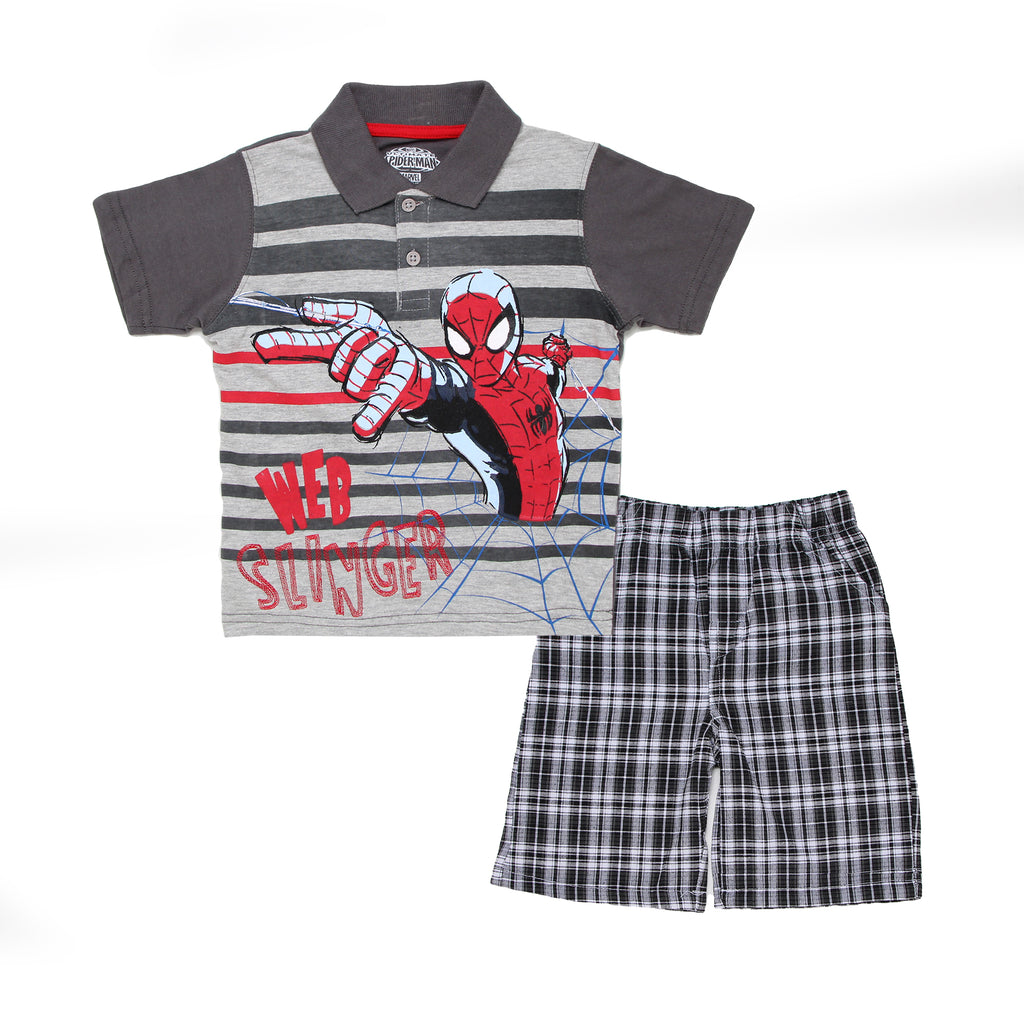 Baby toddler boys Spiderman 2 piece set with grey striped shortsleeve polo graphic tee shirt and plaid broadcloth shorts